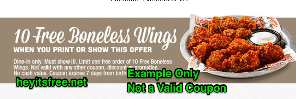 Hooters Birthday Freebie