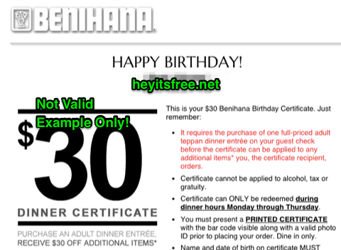 Benihana's Birthday Freebie