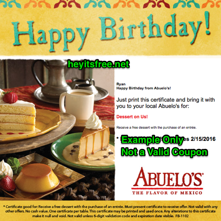 Abuelo's Birthday Freebie