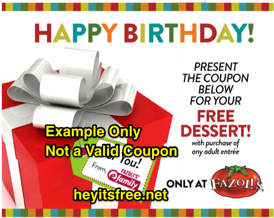 Fazoli's Birthday Freebie