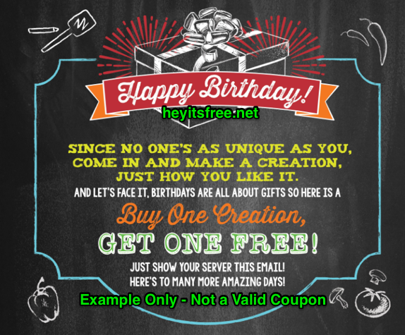Flat Top Grill Birthday Freebie