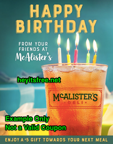 McAlisters Deli Birthday Freebie