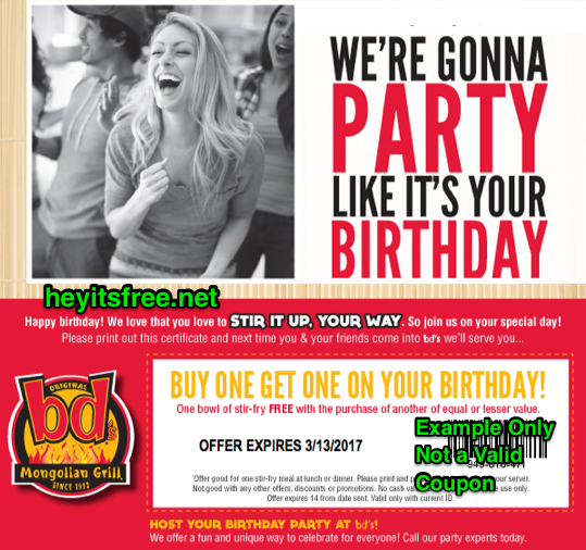 image regarding Genghis Grill Printable Coupon known as bds Mongolian Grill Birthday Freebie