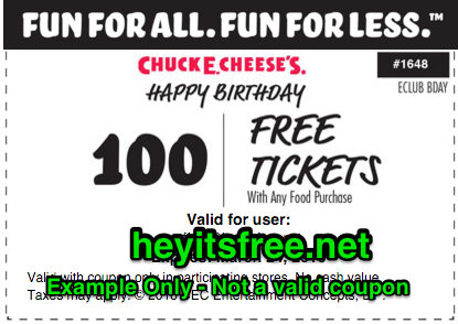 Chuck E Cheese Birthday Freebie