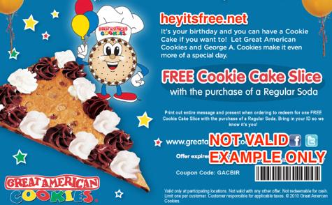 Great American Cookies Birthday Freebie