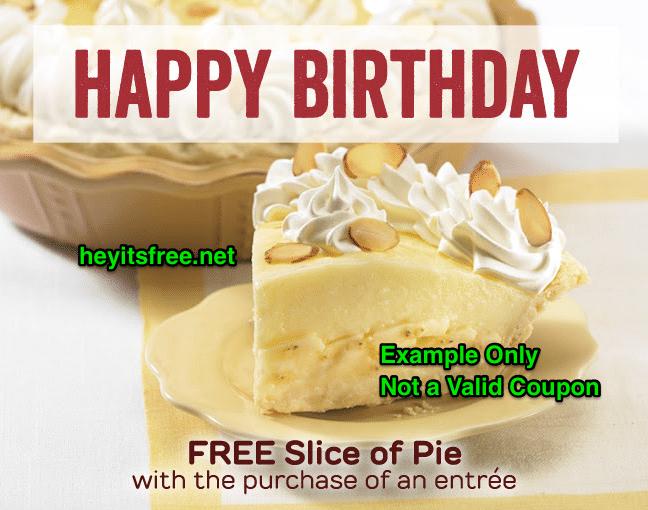 Marie Callender's Birthday Freebie Pie