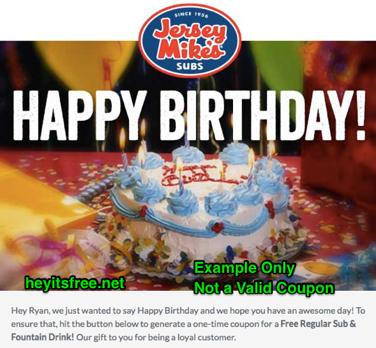 Jersey Mikes Birthday Freebie