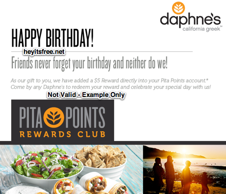 Free Daphne's Greek Cafe Birthday Freebie