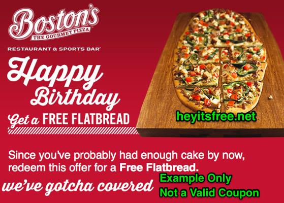 Boston's The Gourmet Pizza Birthday Freebie