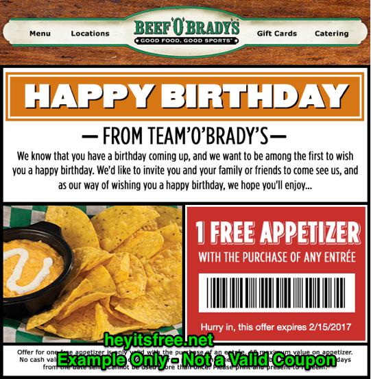 Beef 'O' Brady's Birthday Freebie