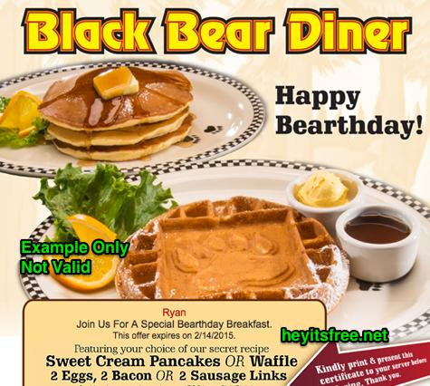 Black Bear Diner Birthday Freebie