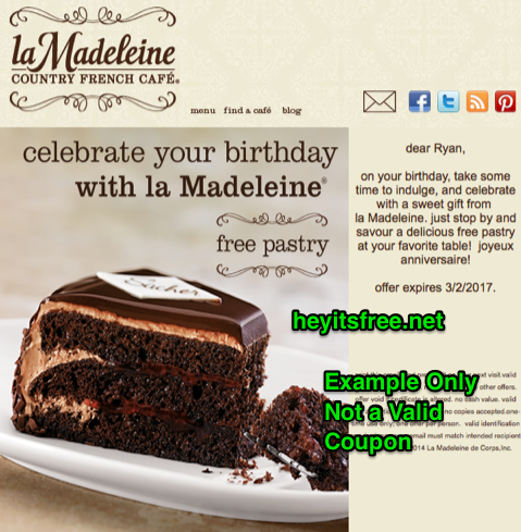 la Madeleine Birthday Freebie