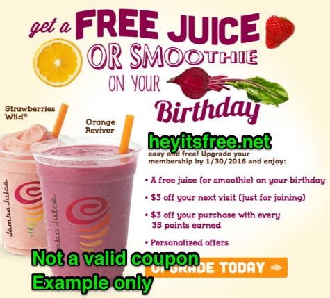 Jamba Juice Birthday Freebie