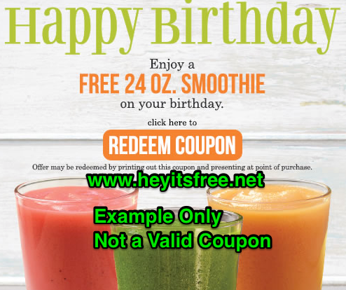 Tropical Smoothie Birthday Freebie