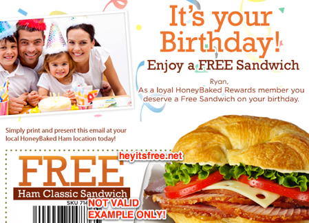 graphic about Honey Baked Ham Printable Coupons named HoneyBaked Ham Birthday Freebie