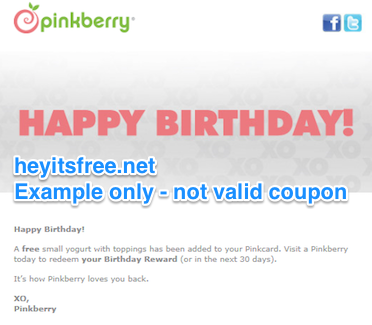 Pinkberry Birthday Freebie