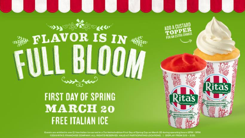 Free Rita's Italian Ice First Day Spring