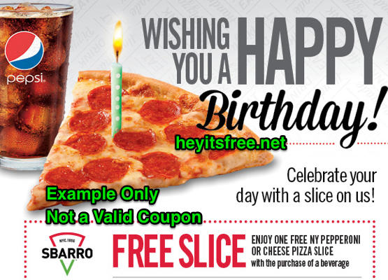 Sbarro Birthday Freebie