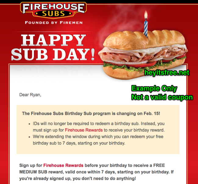Firehouse Subs Birthday Freebie