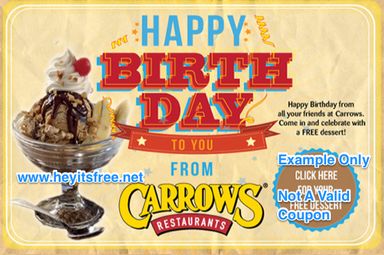 Carrow's Birthday Freebie