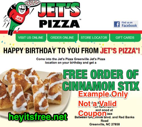 Jets Pizza Birthday Freebie