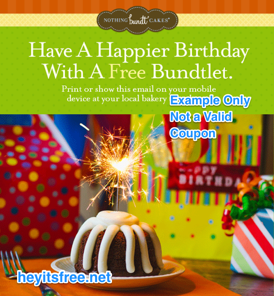 graphic about Nothing Bundt Cakes Coupons Printable called Very little Bundt Cakes Birthday Freebie
