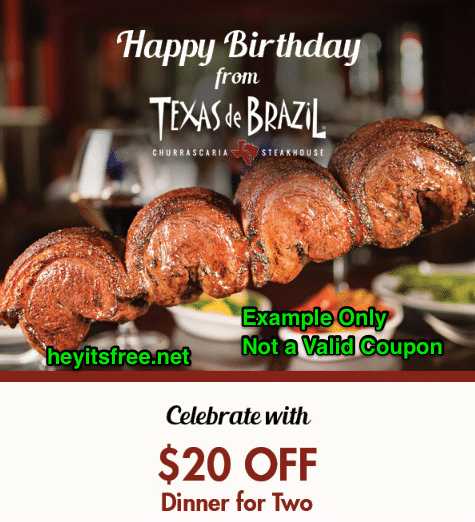 Texas de Brazil Birthday Freebie