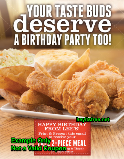 Lees Famous Recipe Chicken Birthday Freebie
