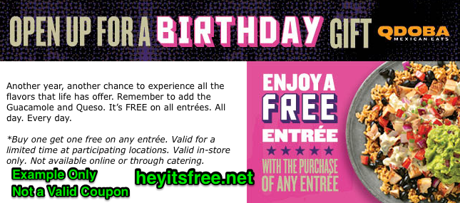 picture relating to Qdoba Printable Coupons named Qdoba Birthday Freebie