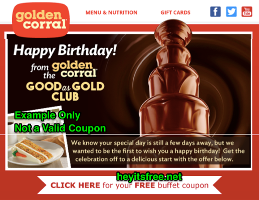 image regarding Golden Corral Coupons Buy One Get One Free Printable known as Golden Corral Birthday Freebie