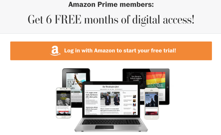 Free Washington Post Subscription from Amazon Prime