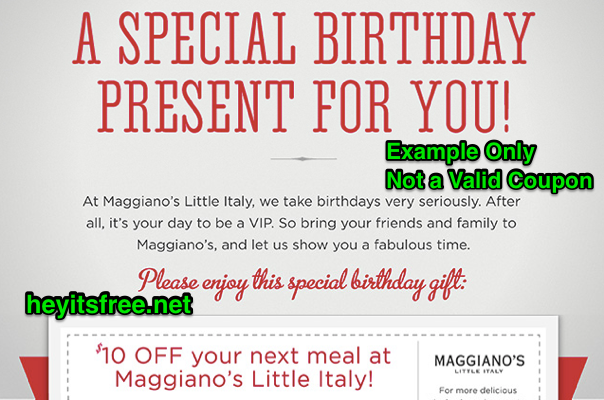 Maggiano's Little Italy Birthday Freebie