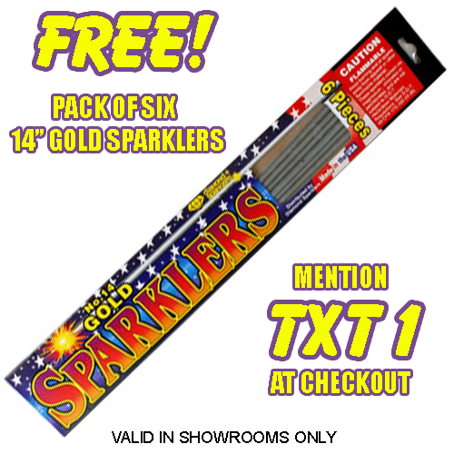 6 Free Gold Sparklers at Phantom Fireworks
