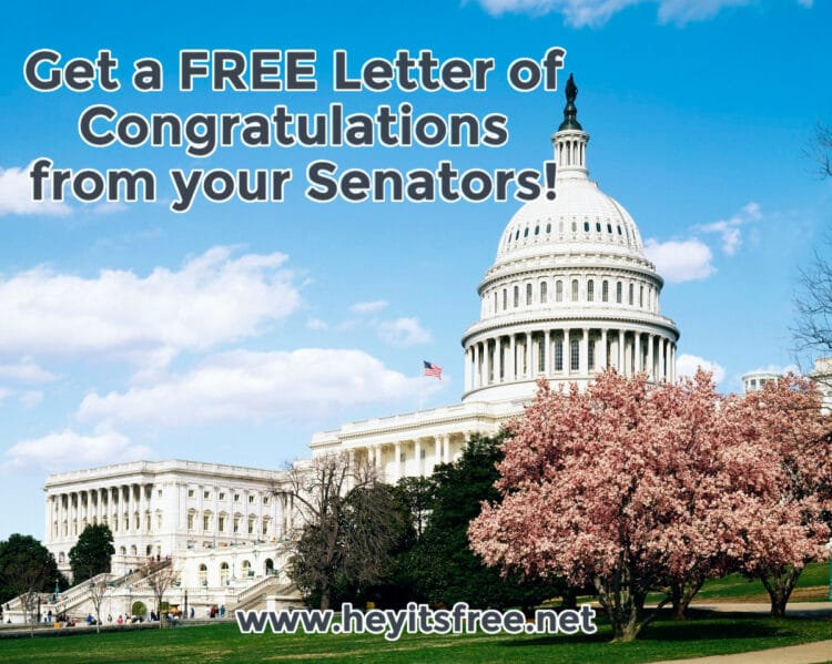 Get a FREE Letter of Congratulations from your Senators!