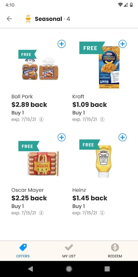 Four Food Freebies on Coupons App